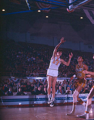 Three Points Photograph - Pete Maravich Shot From The Corner by Retro Images Archive