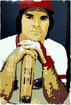 Baseball. Philadelphia Phillies Painting - Pete Rose Poster Art by Florian Rodarte