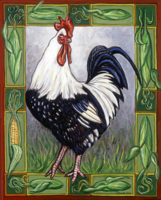 Pete The Rooster Art Print by Linda Mears