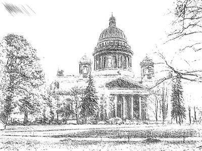 The Church Mixed Media - Peterburg Cathedral Great Piter by Yury Bashkin