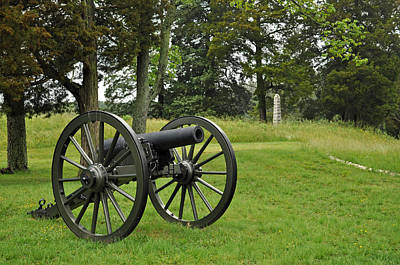 Petersburg National Battlefield Cannon And Monument Art Print by Bruce Gourley