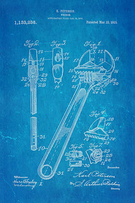 Peterson Wrench Patent Art 1915 Blueprint Art Print by Ian Monk