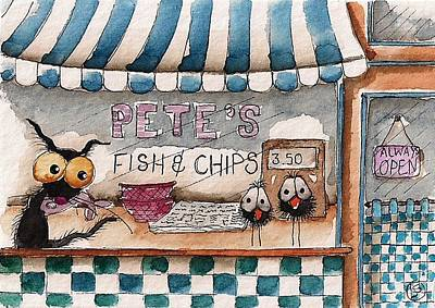 Pete's Fish And Chips Art Print by Lucia Stewart