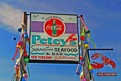 Coca-cola Sign Photograph - Petey's Seafood by Joann Vitali