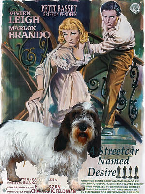 Painting - Petit Basset Griffon Vendeen Art Canvas Print - A Streetcar Named Desire Movie Poster by Sandra Sij
