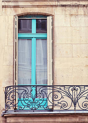 Window Wall Art - Photograph - Petit - Parisian Balcony  by Melanie Alexandra Price