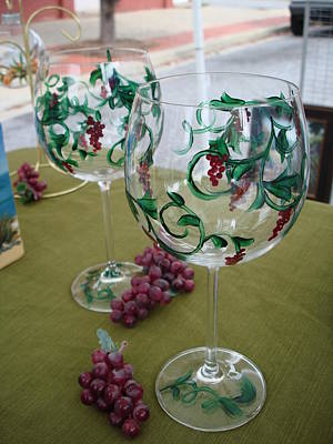 Painting - Petite Grapes On Glass by Sarah Grangier