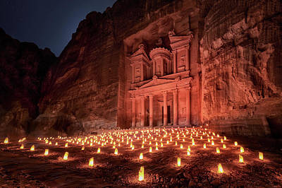 Candles Wall Art - Photograph - Petra By Night by Jes?s M. Garc?a