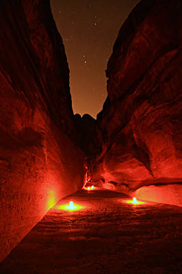 Nabatean Photograph - Petra Night Walk by Stephen Stookey