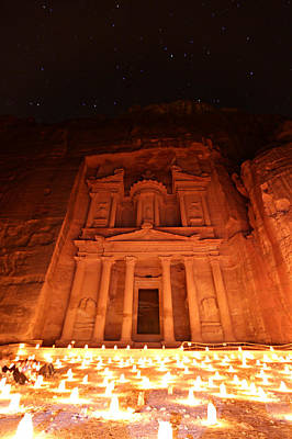 Nabatean Photograph - Petra Treasury At Night by Stephen Stookey