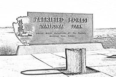Digital Art - Petrified Forest National Park Entrance Sign Black And White Line Art by Shawn O'Brien