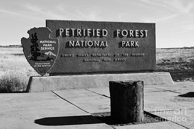 Photograph - Petrified Forest National Park Entrance Sign Black And White by Shawn O'Brien