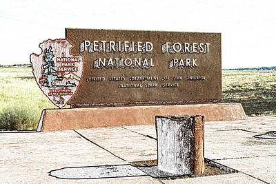 Digital Art - Petrified Forest National Park Entrance Sign Colored Pencil by Shawn O'Brien