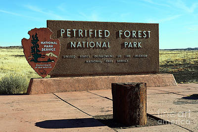 Digital Art - Petrified Forest National Park Entrance Sign Poster Edges by Shawn O'Brien