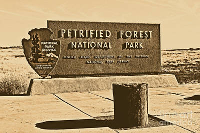 Digital Art - Petrified Forest National Park Entrance Sign Rustic by Shawn O'Brien