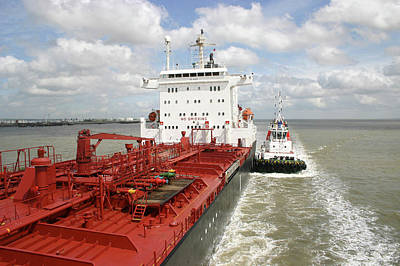Tanker Wall Art - Photograph - Petrochemical Tanker And Tug by Graeme Ewens/science Photo Library