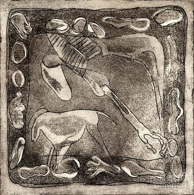 Painting - Petroglyph - Horse Takhi And Stones - Prehistoric Art - Cave Art - Rock Art - Cave Painters by Urft Valley Art