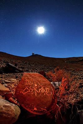 Moonlit Night Photograph - Petroglyphs And La Silla Observatory by Babak Tafreshi