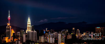 Twin Towers Photograph - Petronas Lights by Adrian Evans