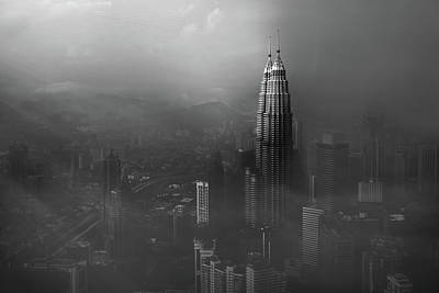 Light Beams Photograph - Petronas Towers In A Foggy Afternoon by Nader El Assy