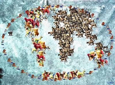Pets World Map Art Print by Daniel Janda