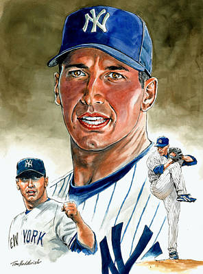 Yankee Painting - Pettitte by Tom Hedderich