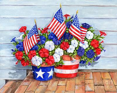Flags Painting - Petunias And Flags by Paul Brent
