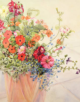 Floral Still Life Painting - Petunias Lobelias Busy Lizzies And Fuschia In A Terracotta Pot by Joan Thewsey