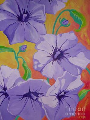 Painting - Petunias by Sandra Yuen MacKay