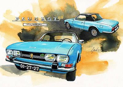 Roadster Painting - Peugeot 504 Cabrio by Yoshiharu Miyakawa