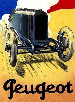 Peugeot Advert Art Print by Lyle Brown