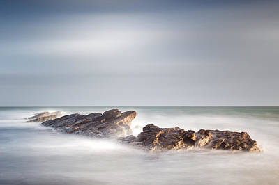 Ledge Photograph - Peverill Point Swanage by Chris Frost