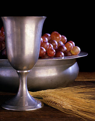 Communion Photograph - Pewter Chalice Grapes Wheat Communion by Vintage Images