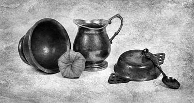 Pewter Still Life In Black And White Original