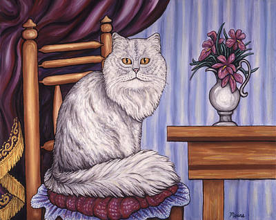 Whimsical Painting - Pewter The Cat by Linda Mears