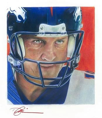 Peyton Manning Drawing - Peyton by Darren  Chilton