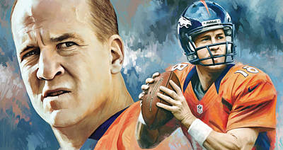 Football Painting - Peyton Manning Artwork by Sheraz A