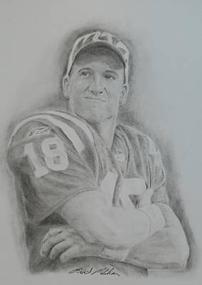 Drawing - Peyton Manning by Brent  Mileham