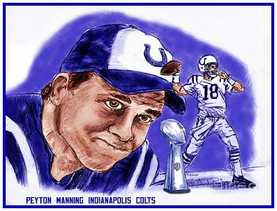 Drawing - Peyton Manning by Chris  DelVecchio