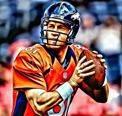Quarterback Painting - Peyton Manning by Florian Rodarte