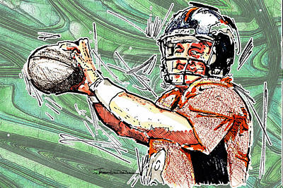 Denver Broncos Drawing - Peyton Manning II by Jerrett Dornbusch