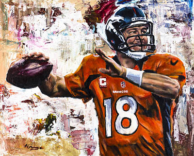 Action Portrait Painting - Peyton Manning by Mark Courage