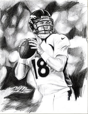 Drawing - Peyton Manning by Michael Mestas