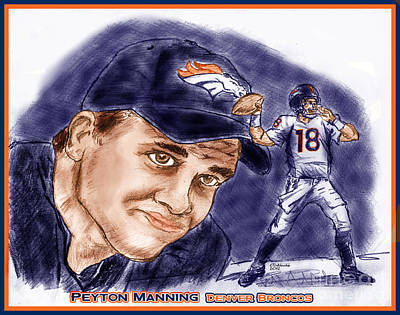Drawing - Peyton Manning New Start by Chris  DelVecchio