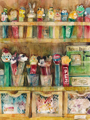 Pez Dispenser Painting - Pez Collection by Dorrie Rifkin