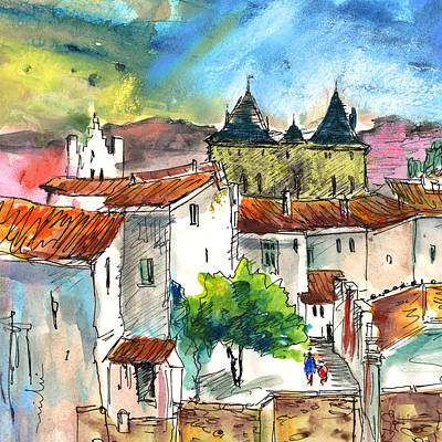 Town Square Drawing - Pezens 04 by Miki De Goodaboom