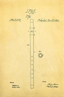 Fife Photograph - Pfaff Fife Patent Art 1864 by Ian Monk
