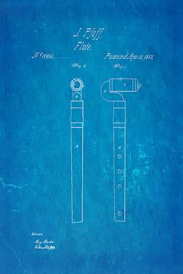 Flute Art Photograph - Pfaff Flute Patent Art 1857 Blueprint by Ian Monk