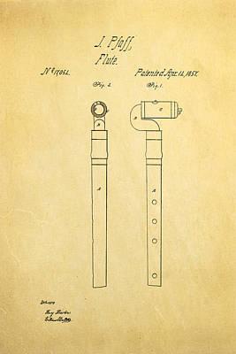 Flute Art Photograph - Pfaff Flute Patent Art 1857 by Ian Monk