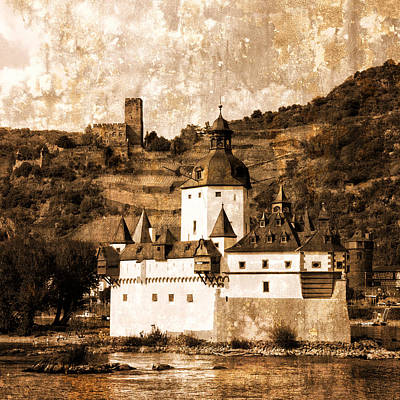 Photograph - Pfalzgrafenstein Castle Germany Sepia by Greg Kluempers
